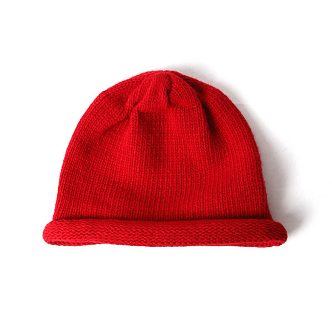 "Knit Roll Beanie ""RED"""