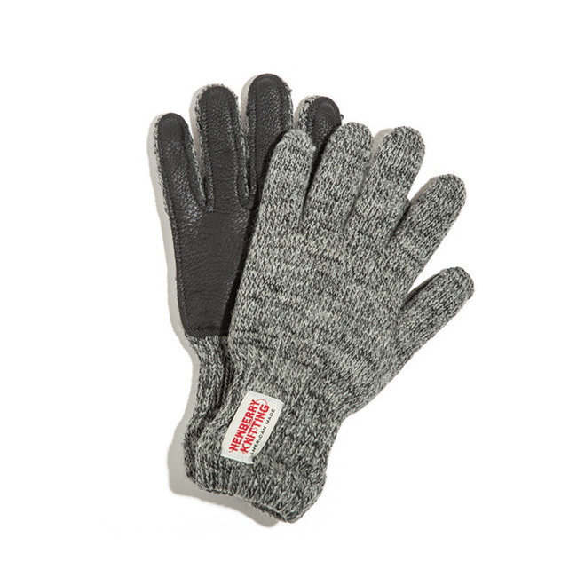 "Newtech lined ragg wool Glove with Deerskin Palm ""CHARCOAL"""