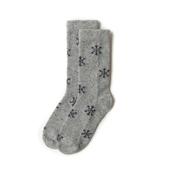"Snowflake Socks ""GRAY+PURPLE"""