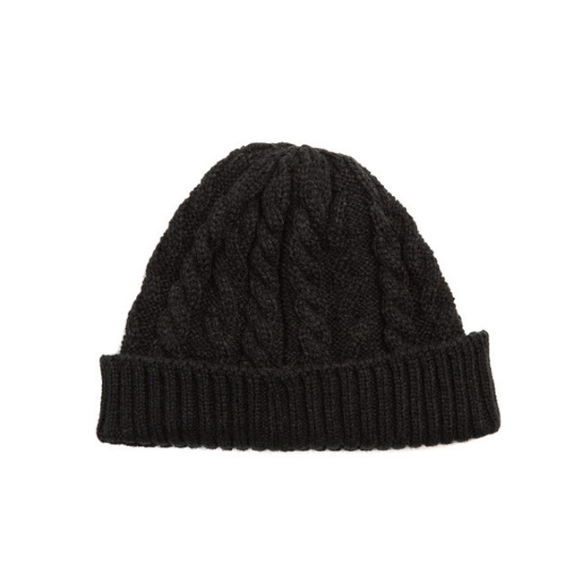 "Cable Short Beanie ""BLACK"""