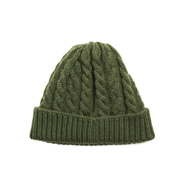 "Cable Short Beanie ""KHAKI"""
