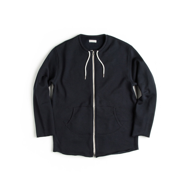 "Cut Shape Zip-up Sweatshirt ""NAVY"""