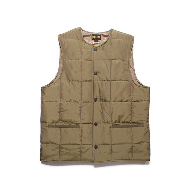 "Round Collar Paded Vest ""KHAKI"""