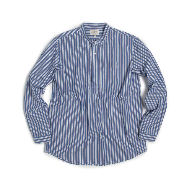 "Stripe China-Colllar Shirt ""BLUE"""