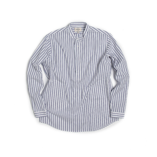 "Stripe China-Colllar Shirt ""WHITE"""