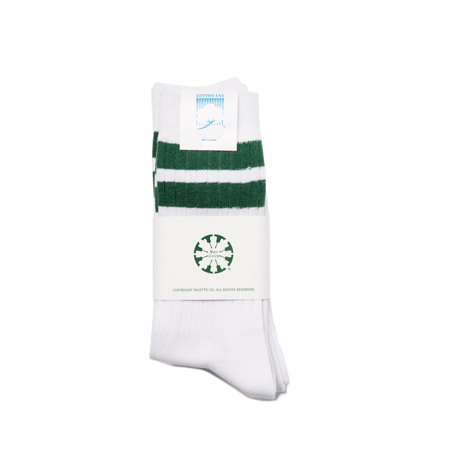 "Stripe Mid Socks 3Pcs ""GREEN"""